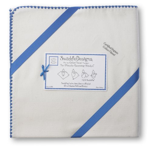 Swaddledesigns Organic Ultimate Receiving Blanket, Natural With Color Trim, Skipper Blue