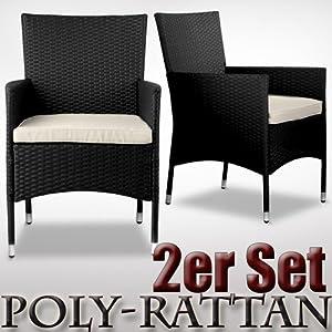 Rattanstuhl Schwarz 2er Set Gartenmöbel Poly Rattan Sessel