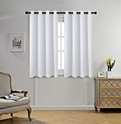 Miuco Room Darkening Grommet Window Blackout Curtains for Bedroom Curtains Set of 2 52x63 Inch Greyish White, Bonus 2 Tie Backs Included