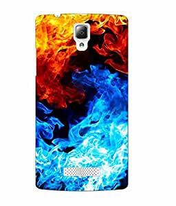 Make My Print Fire Printed Colorful Soft Back Cover For Lenovo A2010