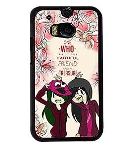 Fuson Flower Pattern Friends Back Case Cover for HTC ONE M8 - D3930
