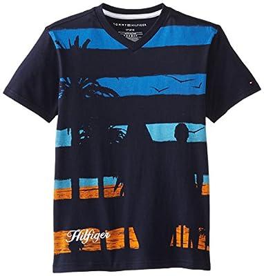 Tommy Hilfiger Big Boys' Short Sleeve Roger Tee, Swim Navy, Small