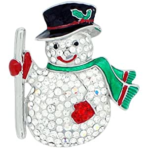 Christmas Gift Snowman Pin Swarovski Crystal Pin Brooch