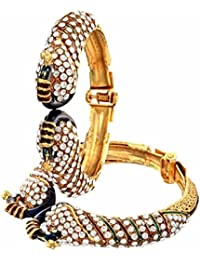 JDX Gold Plated American Diamond Bangles Set For Girls And Women Size_2.5 Adjustable