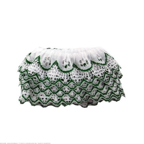 40 Bags of Ruffled Edge White Lace w/Green Trim 12'