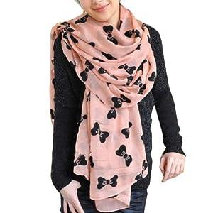 Zehui Pink Women's Large Soft Scarf Wrap Shawl Chiffon Bowknot Print Scarves Neck Scarf