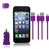 Zeimax iPhone 5 Car & Wall Charger Set - Set Includes (2) 8 pin to USB 2.0 Charging Data Sync Cables with USB Car Charger Adapter and USB Wall Charger Adapter for iPhone 5, iPod Touch 5, iPod Nano 7, and iPad Mini (Purple)