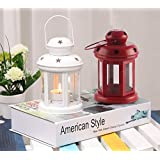 TiedRibbons® Diwali Decoration Gifts Tealight Holder Hanging Lantern(6 Inch X 3.7 Inch X 3.7 Inch, Red,White)