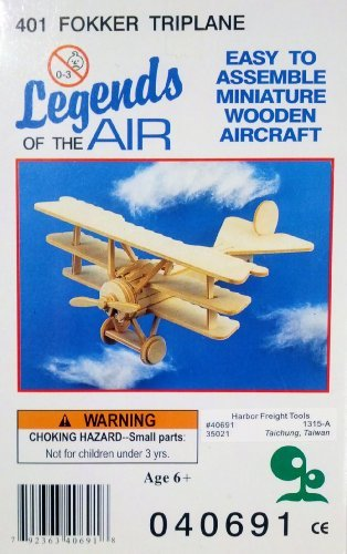 Legends of the Air Miniature Wooden Aircraft - 401 Fokker Triplane - 1