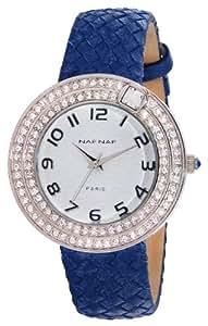 Naf Naf - N10072-208 - Anastasie - Montre Femme - Quartz Analogique - Cadran Blanc - Bracelet Cuir Bleu