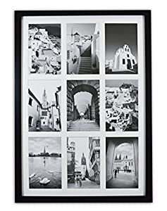 Golden State Art, 13.6x19.7 Black Photo Wood Collage Frame with REAL GLASS and White Displays (9) 4x6 pictures from Golden State Art