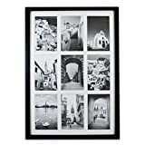 Golden State Art, 13.6x19.7 Black Photo Wood Collage Frame with REAL GLASS and White Displays (9) 4x6 pictures