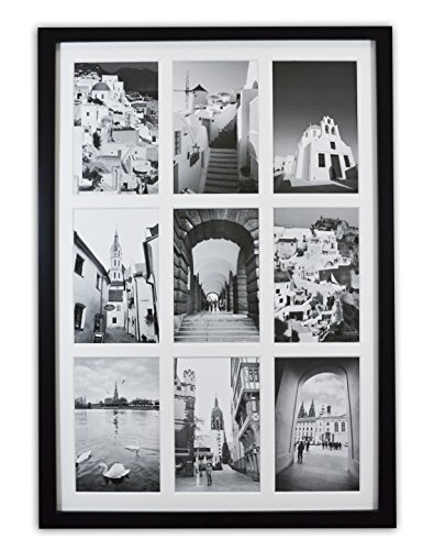 Golden State Art, 13.6x19.7 Black Photo Wood Collage Frame with REAL ...