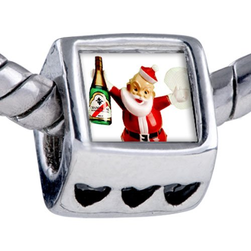 Pugster Silver Plated Photo Bead Champagne Santa Beads Fits Pandora Bracelet