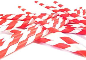 Bella Cupcake Couture Paper Party Striped Straws, Red/White