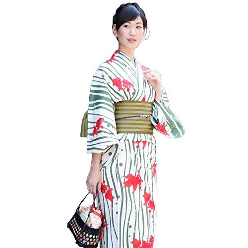 【レギュラーサイズ】高級綿浴衣3点セット 「白地に緑よろけ縞 金魚と水草」 浴衣 セット レディース