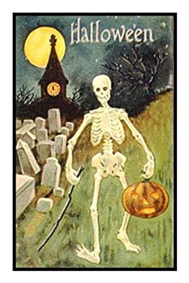 Counted Cross Stitch Chart Victorian Halloween Skeleton Pumpkin and Moon