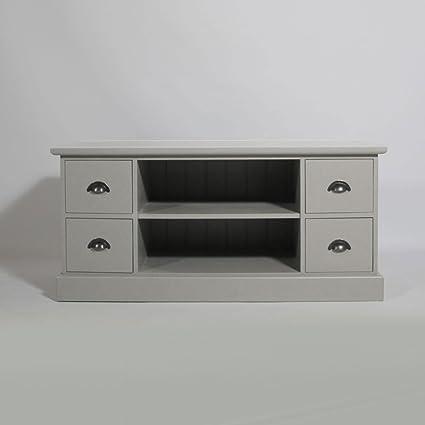 Mueble TV 2Secciones) 4cajones pino maciza | N609, gris claro, 50