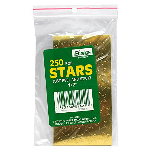 "Eureka Presto-Stick(R) Foil Stars, 1/2"", Gold, Pack Of 250"