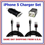 2 x Charging Kit Black iPhone 5 Car & Wall Charger Set - Set Includes (2) 8 pin to USB 2.0 Charging Data Sync Cables with USB Car Charger Adapter and USB Wall Charger Adapter for iPhone 5, iPod Touch 5, iPod Nano 7, iPad 4, and iPad Mini