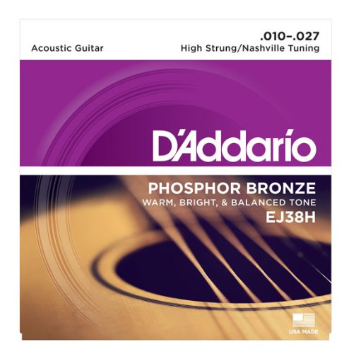 D'Addario Ej38H Phosphor Bronze Acoustic Guitar Strings, High Strung/Nashville Tuning, 10-27