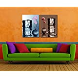 Retcomm Solutions Colored Home Decor Vase With Flowers And Ice Multi-Panel Canvas Frame Paintings (91.44 Cm X...