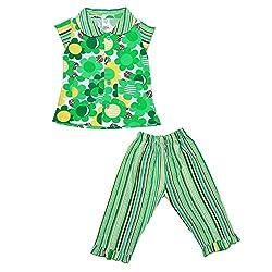 NAUTI KIDZ Baby Girls Sleepsuit (NK053PCFLWSTRIPESGR1420--24-30 Months, Green , 24-30 Months)
