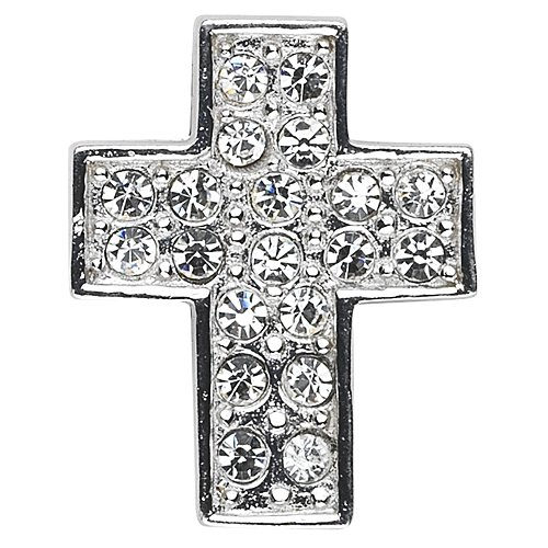 Sterling Medium Cross with Hand Set Cubic Zirconia with 18