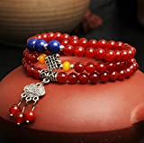 Drunk Wind Multi Strand Happiness Silver Pendant Temperament Agate Braided Knot Tibet Style Bracelet