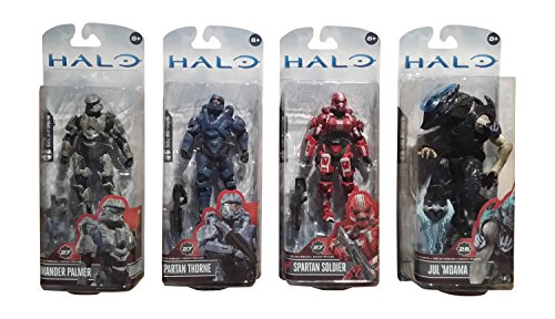 "McFarlane Toys Halo 4: Series 3 Action Figure Bundle includes: Spartan Commander Palmer, Spartan Gabriel Thorne, Exclusive Spartan Soldier Red & ""The Didact's Hand"" Covenant Elite Jul M'Dama"