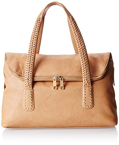 BIG BUDDHA Mabel Braided Handle Satchel,Camel,One Size