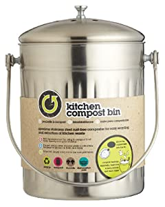 stainless steel kitchen compost bin with