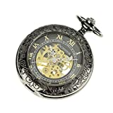 PACIFISTOR Unisex Steampunk Hand Wind Up Skeleton Mechanical Black Analog Pocket Watch with Fob Chain