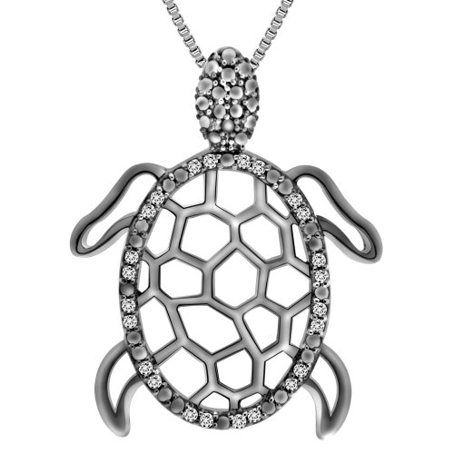 Sterling Silver Diamond Turtle Pendant Necklace (1/10 cttw, I-J Color, I2-I3 Clarity), 18