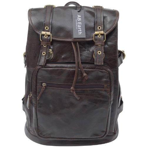 AB Earth Genuine Leather Chocolate Hiking Backpack Travel Camping Bag,M112
