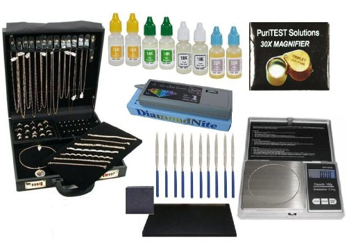 Professional Jeweler Analyzer Dealer Supplies- Jewelry Organizer Briefcase, Electronic Diamond Tester, Gold Purity Testing Acids, Carat/Coin Scale And Much More