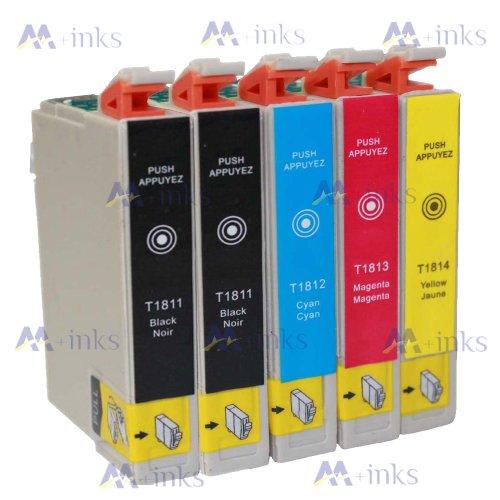 5 Druckerpatronen XP405 XP 405 XP-405 XP415 XP 415 XP-415 Kompatibel für Epson T1811 T1812 T1813 T1814 Tintenpatronen für Expression Home XP-405 XP-415 drucker patronen (2x Schwarz 1x Blau 1x Rot 1x Gelb) -mit CHIP