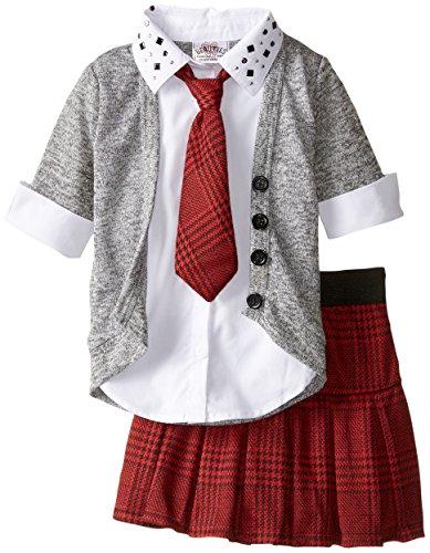 Beautees Little Girls' Plaid Skirt Collar and Cuff Set, Grey, 4
