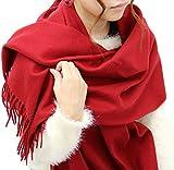 (マルカワジーンズパワージーンズバリュー) Marukawa JEANS POWER JEANS VALUE マフラー 無地 大判 ストール ユニセックス 男女兼用 4color Free レッド