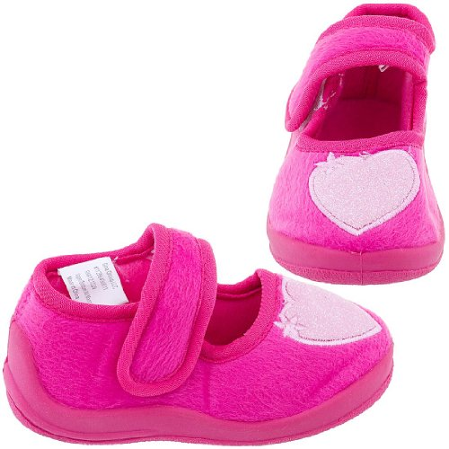 Cheap Chatties Bright Chatties Pink Toddler Slippers with Chatties Pink Glitter Hearts for Girls (B005Y4RRI0)