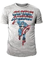 Marvel Comic - Captain America Retro Herren T-Shirt Runner Hellgrau (S-XL)