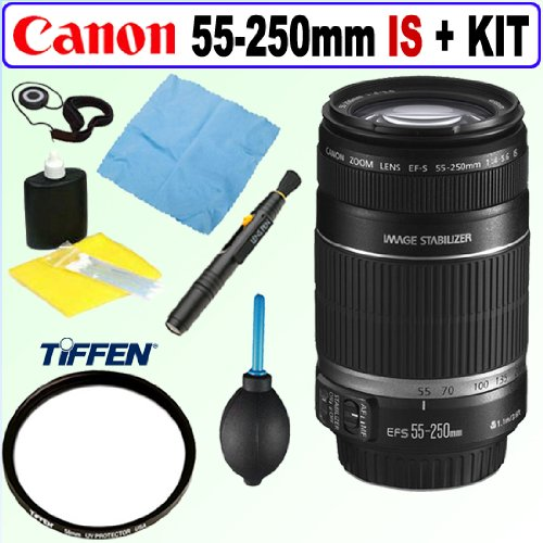 Canon EF-S 55-250mm f/4.0-5.6 IS II Telephoto Zoom Lens + Tiffen 58mm UV Protection Filter + Accessory Kit