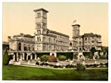 Victorian View of Osborne House, Cowes, Isle of Wight, England, Large A3 size 41 by 28 cm Canvas Textured Fine Art Paper Photo Print