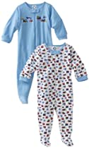 Gerber Baby-Boys Newborn 2 Pack Zip Front Cars And Trucks Sleep and Play , Navy Blue, 0-3 Months