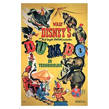 Walt Disney's Dumbo MOVIE POSTER 1941 24X36 VINTAGE CARTOON Rare collectible (reproduction, not an original)