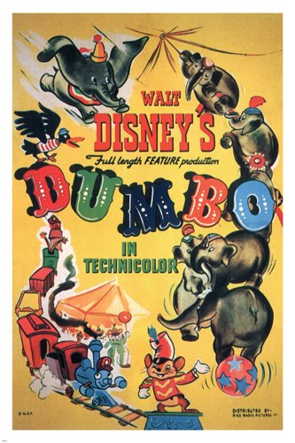 Walt Disney's Dumbo MOVIE POSTER 1941 24X36 VINTAGE CARTOON Rare collectible (reproduction, not an original) 0