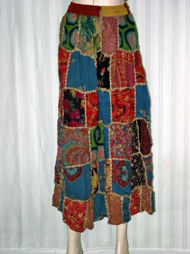 Designer Skirts for Womens Fashion Skirts Blue Red Multi Color Patchwork India 39″ Long Free Shipping