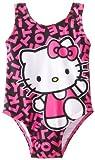 Hola de diseño de gato con el Baby-de chica de espaldas en color negro y rosa letras de impresión de cerámica para tartas de una pieza traje de baño, blanco y negro, 12 meses de la: blanco y negro de tamaño: 12 meses de sillita para bebés para, de be