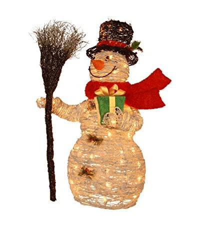 National Tree Company 35 White Rattan Snowman Holding Gift & Broom