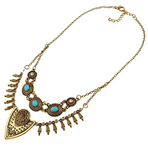 ARICO Multi Layer Necklace Anchor Silver Vintage Necklace Untique Gold Necklace Designs Crystal Resin Necklace Jewelry NE748